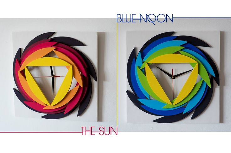 Sunset Sun/ Yellow Moon - Wood Wall Clock - Gemoetric Mosaic - Original Design - 91$  Shop here: http://bit.ly/sunset-sun-etsy Shop here: http://bit.ly/sunset-sun-etsy