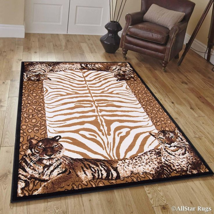 Berber/ Brown Woven Jungle Vibe Tiger Skin Printed Area Rug