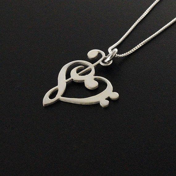 G clef clave de FA corazón collar plata música por Silversmith925