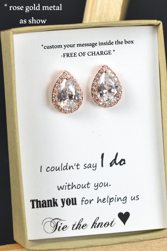 Rose gold  drop earrings ,posts , studs , Wedding Jewelry Bridesmaid Jewelry Bridesmaid Earrings Clear White Lux Cubic Tear drops Ear Posts