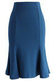 Frill Hem Paneled Pencil Skirt in Indigo Blue