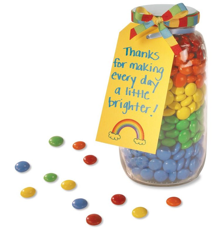 We are totally doing this for the teachers this year, but I think we'll use Jelly Bellies as they are easier to find in bulk same colors.