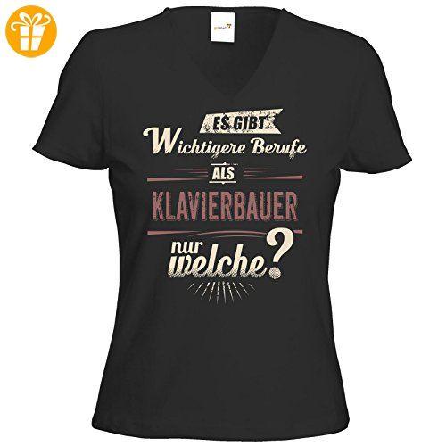 getshirts - RAHMENLOS® Geschenke - T-Shirt Damen V-Neck - Wichtigere Berufe als - Klavierbauer - red creme - schwarz XL (*Partner-Link)