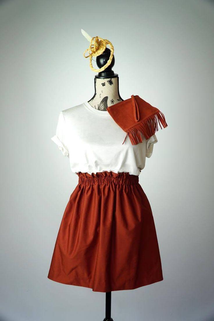 #ootd #orange #skirt #handbag #urbanoutfitters #tshirt #esprit #millenery #hat #combine