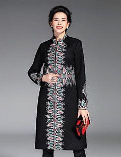 Kadın Pamuklu / Polyester Uzun Kollu Dik Yaka,Kırmızı / Siyah / Kahverengi Kış Nakışlı Sofistike Günlük/Sade-Kadın Kaban