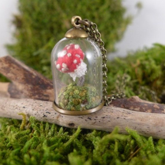 red mushroom embroidered terrarium necklace by atelierBrocante