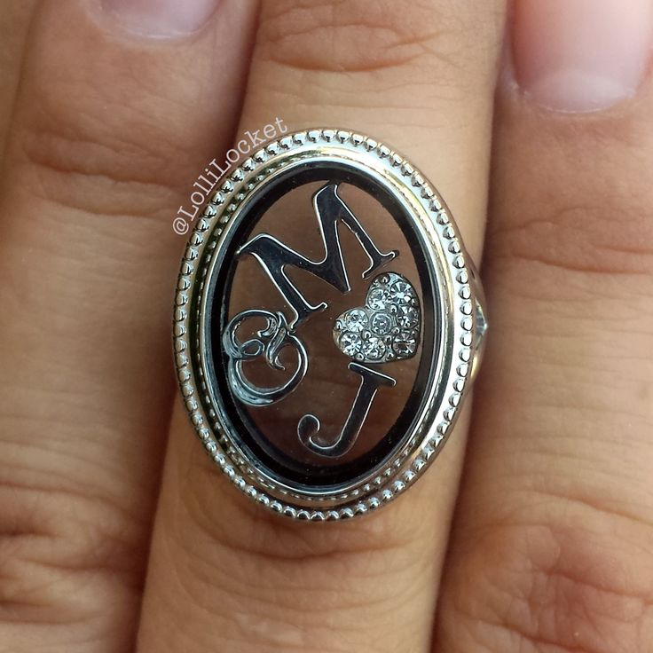 Anniversary or wedding inspired. Origami Owl Locket Ring with M and J Initials, Ampersand*, and Silver Clear Crystal Heart. *Retired*
