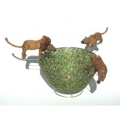 Multicolored wire beaded artwork handmade bowl with a lion, lioness and cub – handcrafted to perfection in Africa.