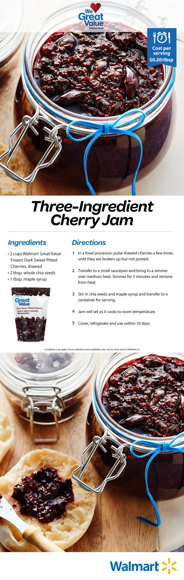 Making homemade jam won't take you a day in the kitchen if you follow this easy Great Value recipe! #jams #cherryjam #jamrecipes #realsolutions #toast #breakfast #WeLoveGreatValue
