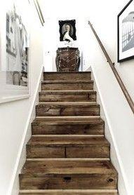 Love the barn wood floors!: Barns Boards, Rustic Stairs, Basements Stairs, Old Wood, Rustic Wood, Barns Wood, White Wall, Wooden Stairs, Wood Stairs