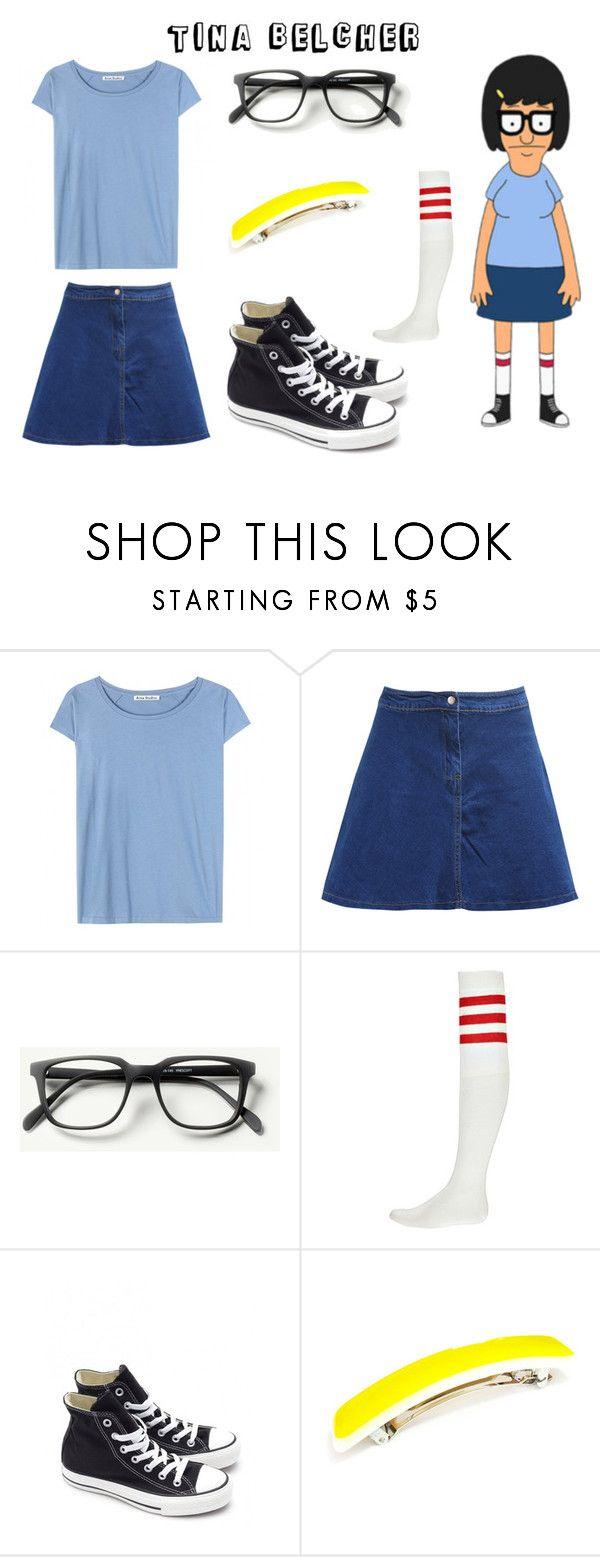 """Halloween Costume: Tina Belcher"" by ballereyna ❤ liked on Polyvore featuring Acne Studios, Boohoo, Converse, cosplay, bobsburgers, halloweencostume, TinaBelcher and Halloween2015"