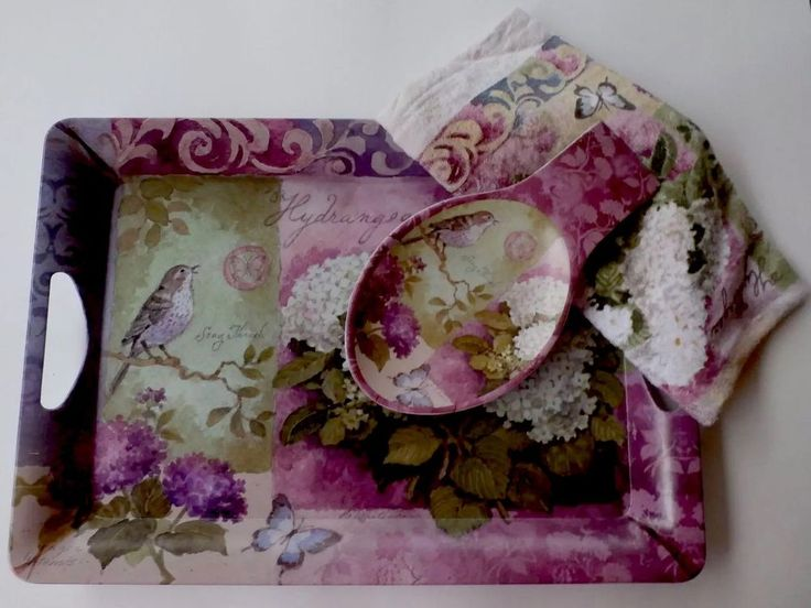 Used Decorative Serving Tray Hand Towel and Spoon Rest Bundle Purple Hydrangea | eBay