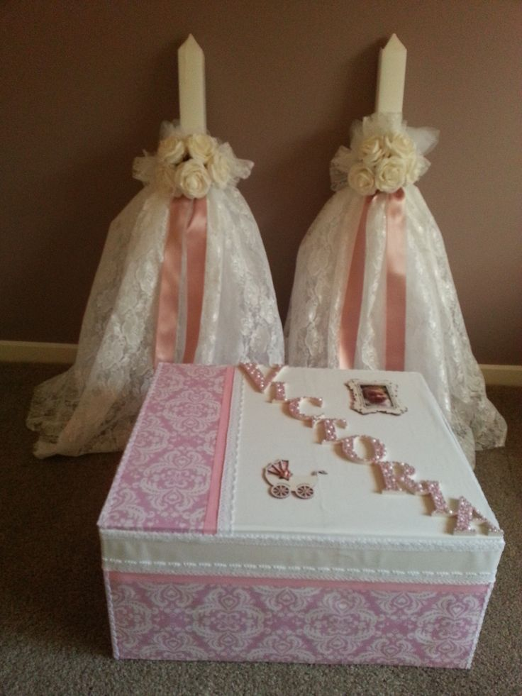 Hand decorated Macedonian Orthodox Christening candles and church box for my little girls big day.