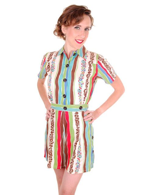 Vintage Ladies Playsuit 1PC 1940s Tailor Town Colorful