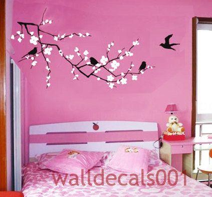 flower wall decals wall stickers cherry blossom decals floral decal girl room decor wall decor wall art cherry blossom
