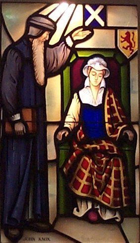 John Knox and Mary, Queen of Scots at Covenant Presbyterian Church, Long Beach, California, USA