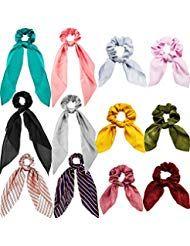 12 Stücke Haarschal Satin Seide Haargummis Solide Retro Elastische Haarbänder …