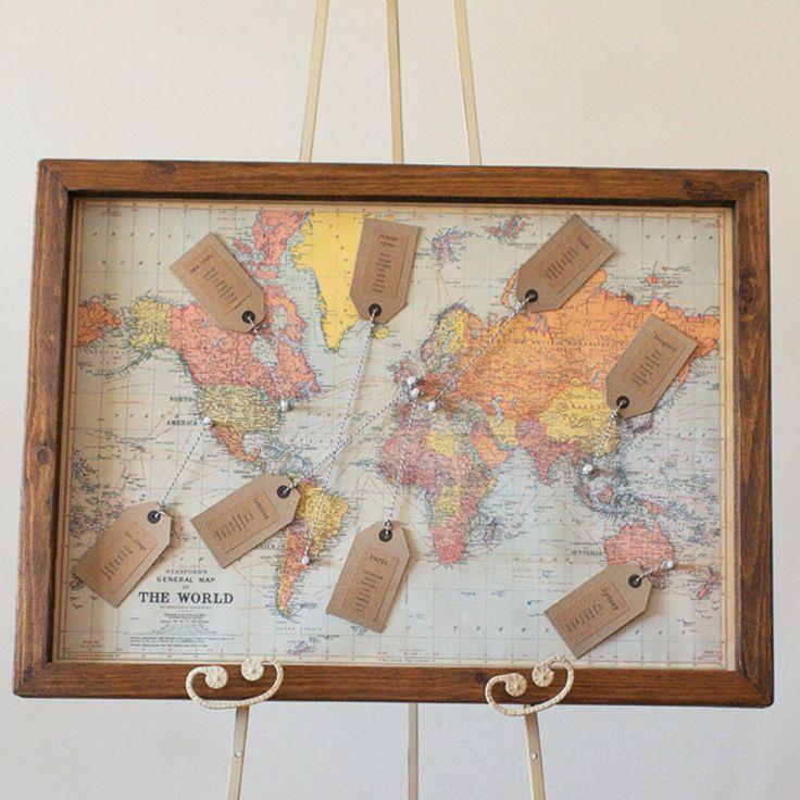 World Map Print Wedding Table Plan