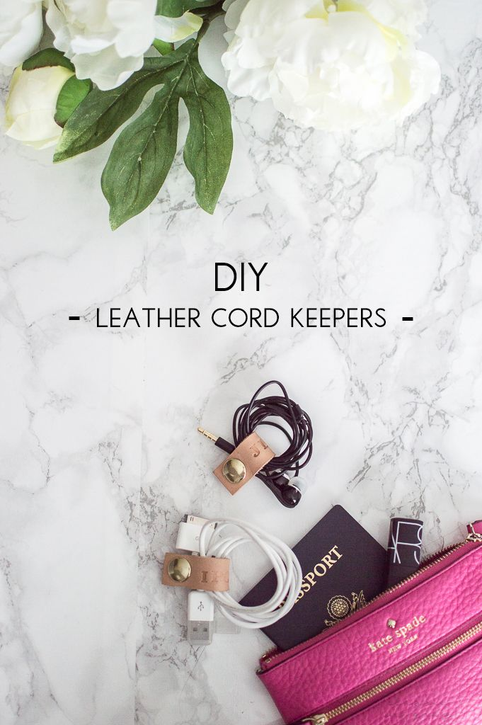 DIY monogrammed leather cord keeper accessories to organize your tech in style! So easy and chic! Via @classicingray