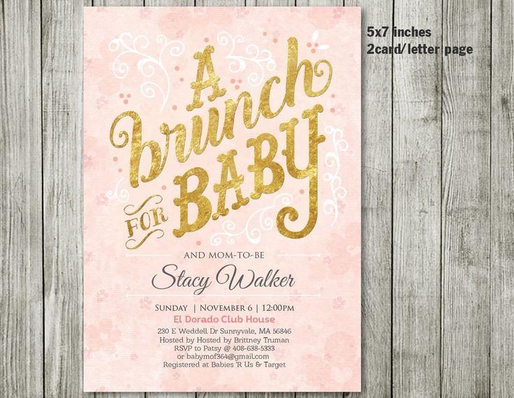 BRUNCH Baby Shower Invitation   BRUNCH Invitation   Baby Shower Invitation    BRUNCH   Boy Girl Invitation   Pink Invitation