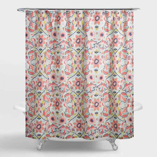 Multicolor Floral Margherita Shower Curtain Shower Curtain Coral Shower Curtains Curtains