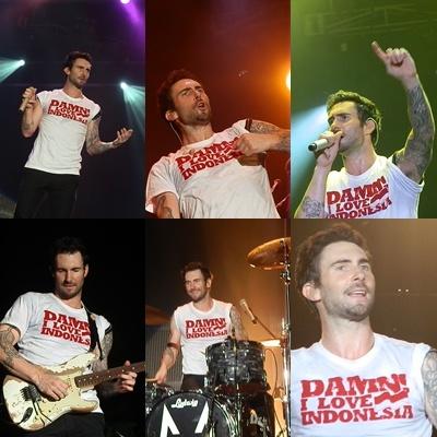 "Adam Levine (Maroon 5 ""Overexposed"" Tour 2012 - Jakarta, Indonesia), wearing ""DAMN! I LOVE INDONESIA"", designed by Ms. Femi Noviandini."