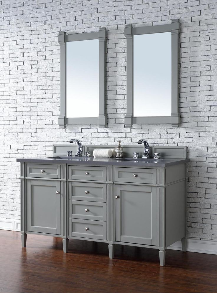 Contemporary 60 inch double sink bathroom vanity gray finish no top - Modern bathroom vanity double sink ...