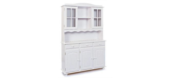 BUFFET Kiefer massiv Weiß - Weiß, ROMANTIK / LANDHAUS, Holz (130/198/43cm) - CARRYHOME