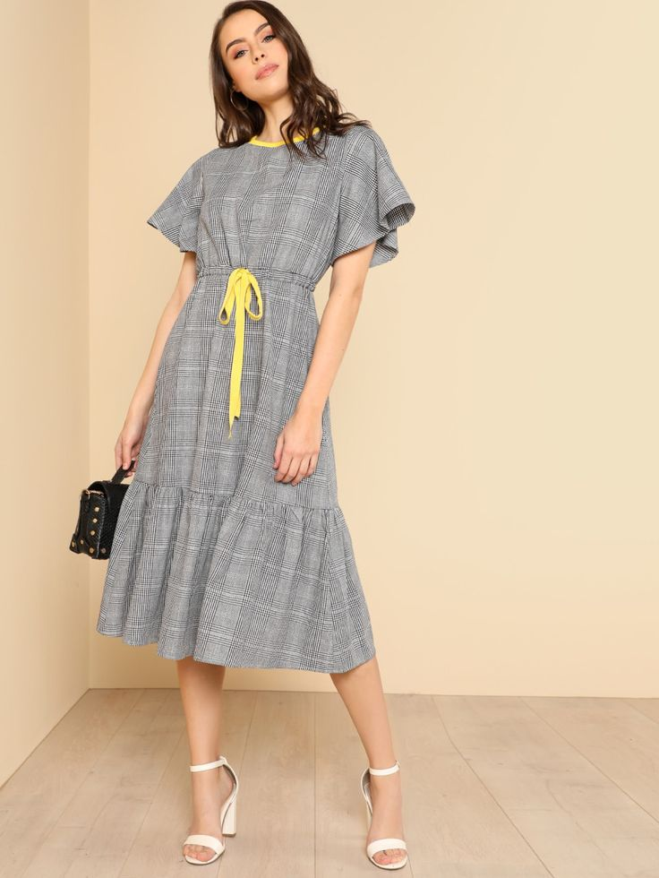 Shop Contrast Neck Drawstring Waist Plaid Dress online. SheIn offers Contrast Neck Drawstring Waist Plaid Dress & more to fit your fashionable needs.