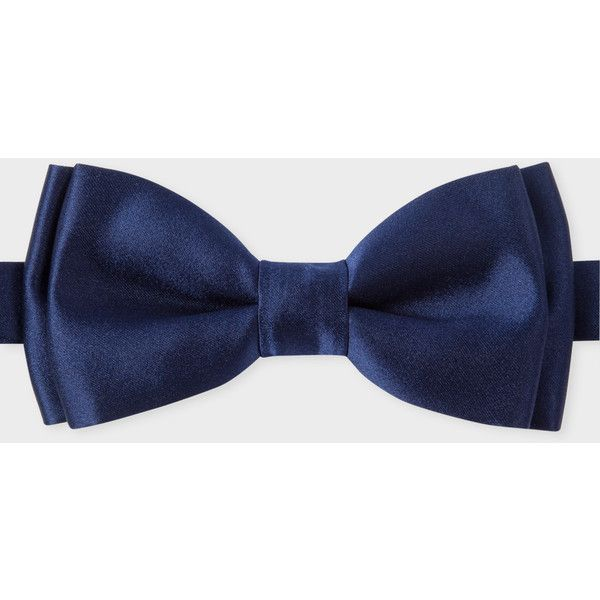 Paul Smith Men's Navy Silk Bow Tie ($81) ❤ liked on Polyvore featuring men's fashion, men's accessories, men's neckwear, bow ties, mens navy tie, mens ties, mens bow ties and mens silk ties