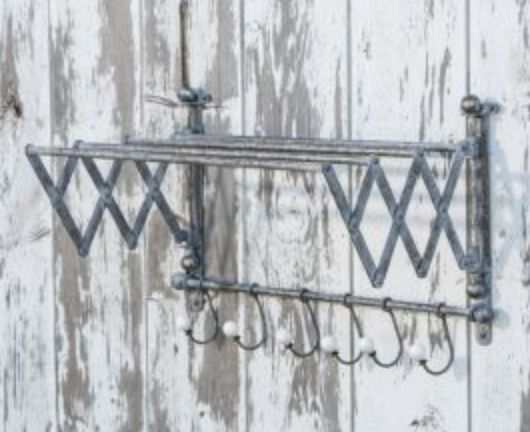 Vintage Metal Clothes Drying Rack with Hooks