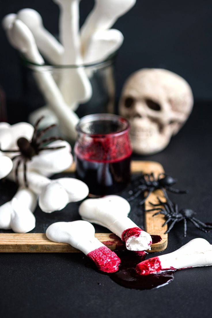 Snack on Blood-Soaked Meringue Bones at your Halloween party by following this spooky recipe.