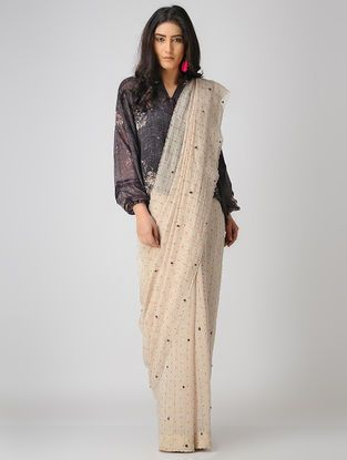 9b98a715de8 Ivory-Red Embroidered Chanderi Saree with Zari