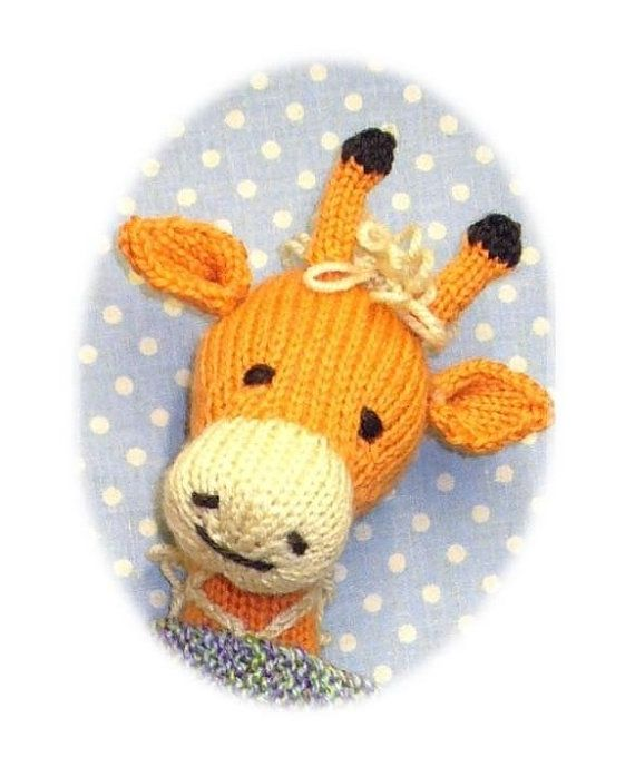 knitted giraffe PDF email toy knitting pattern by BunnyFriends, $3.00