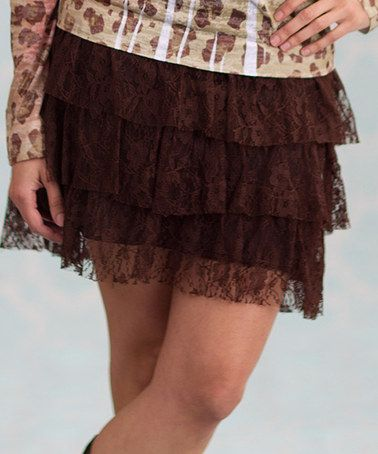 Take a look at this Brown Going Brazil Tiered Skirt - Women by Rancho Estancia on #zulily today!