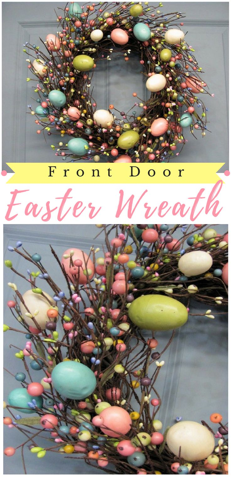 This Easter Wreath is just so gorgeous! Love how decorative this is, would look great hanging on my front door. #ad #easter #easterwreath #springwreath #pastelspring #berrywreath #primitivewreath #easterhomedecor #eastereggwreath #easterdecorideas