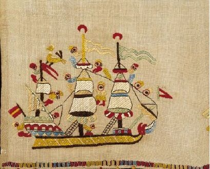Skyros ship embroidery Benaki Embroidery on the border of a bridal towel from Skyros island depicting a ship. Embroideries from Skyros, one of the most luxurious and more thoroughly studied categories of neo-Hellenic embroidery, are noted for their imaginative freedom of design, their joyous, naturalistic spirit, and endless chromatic variety. 18th-19th c.