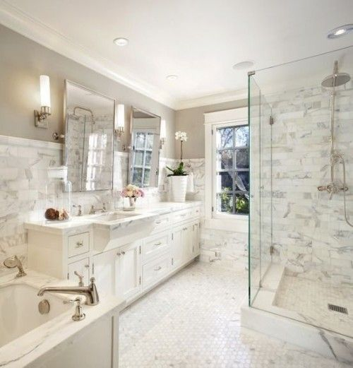How To Create a Hamptons Style Bathroom: subway tile or subway tile made from white marble Gallerie B