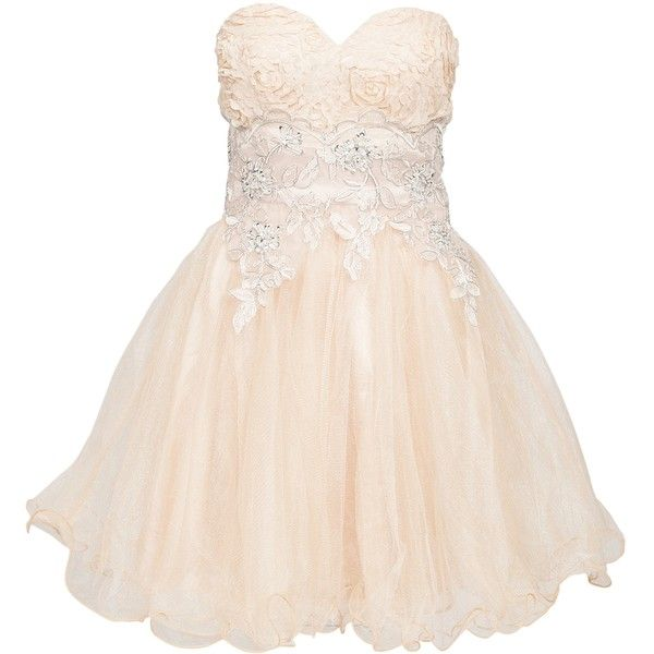Chi Chi London Gratzia Prom Dress ($84) ❤ liked on Polyvore featuring dresses, party dresses, nude, womens-fashion, tall dresses, pink lace cocktail dress, lace cocktail dresses, pink lace dress and nude lace dress