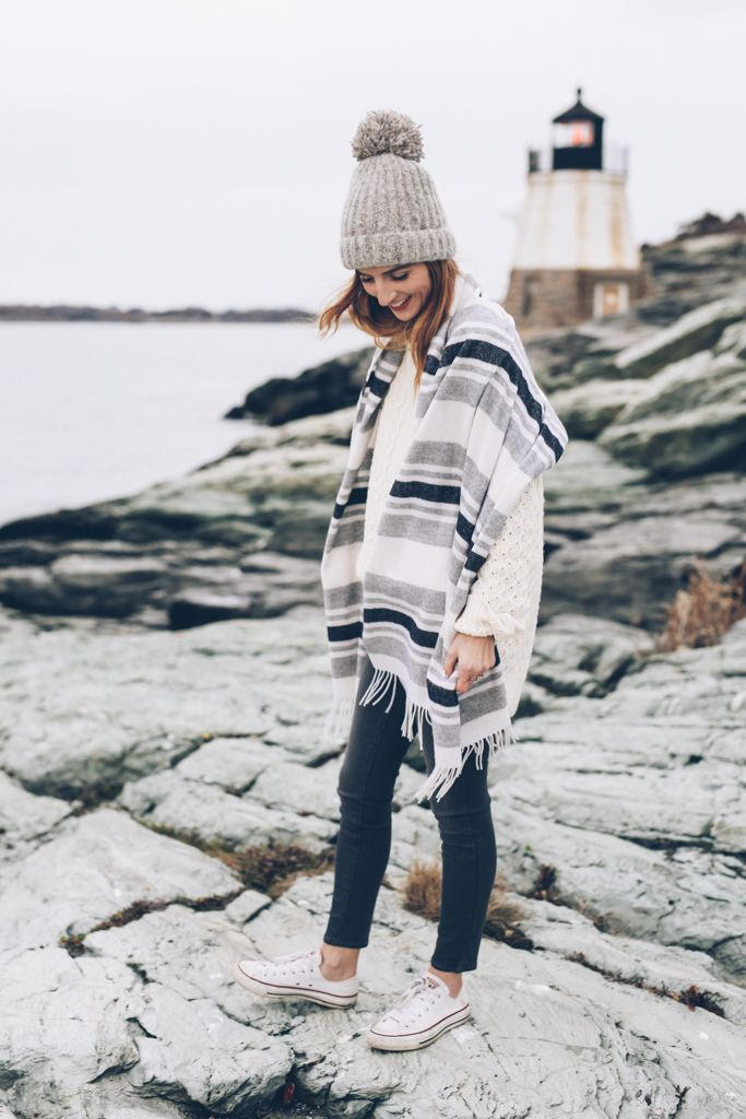 J.Crew Beanie and Madewell Scarf with skinny jeans and sneakers on Jess Kirby Prosecco and Plaid