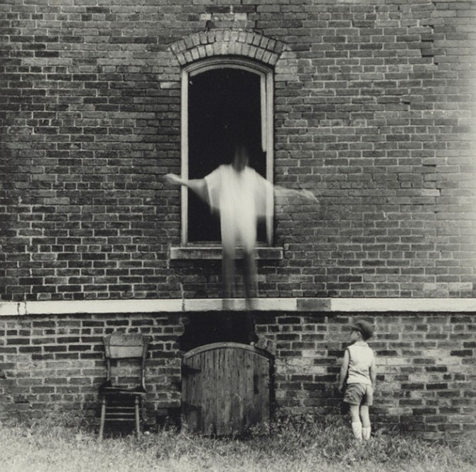 Ralph Eugene Meatyard - I really like how the artist has managed to create a macabre and spooky atmosphere within their photograph through capturing the movement of one of the sitters as the supposedly jump out the window.