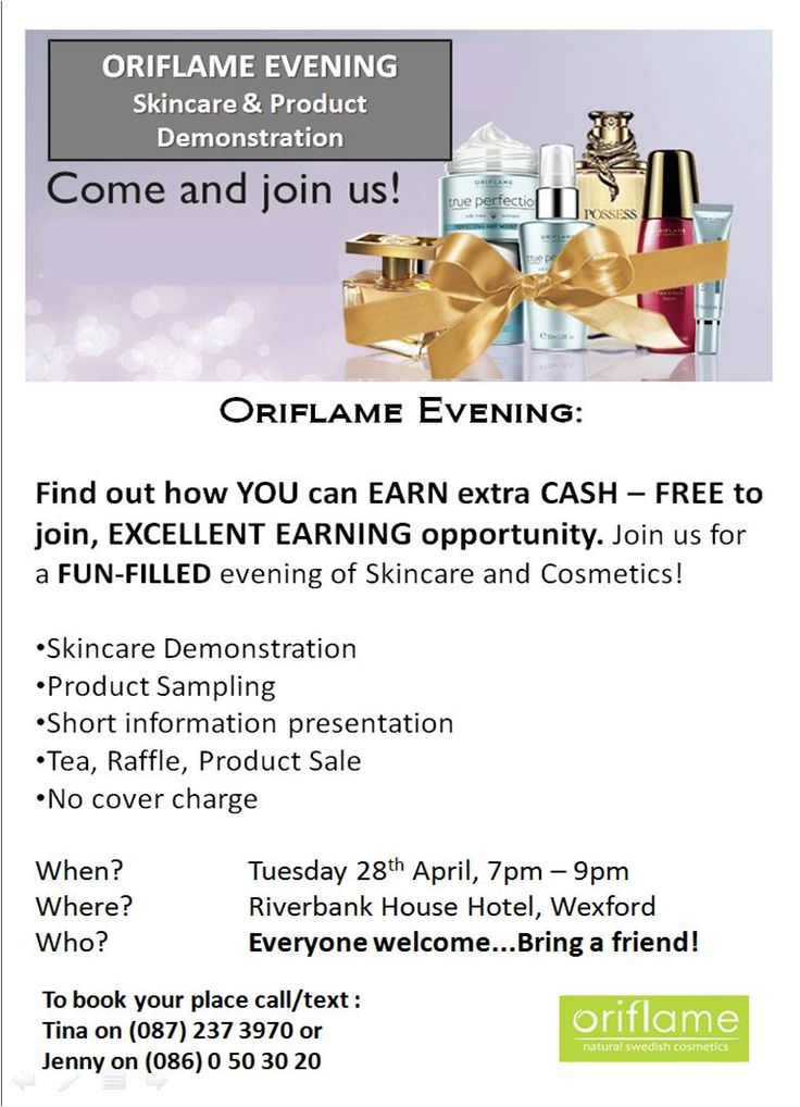 Would you like to know more about our wonderful products?  How would you like to find out about our amazing Earning Opportunity?  Come along to the Riverbank Hotel in Wexford on Tuesday 28th April from 7pm - 9pm.  Call or text (086) 0 503020 to book your place.