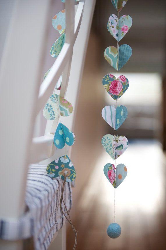 NEW Paper Garland, AQUA BIRD, Heart Garland, Wedding garland, Birthday Party Garland, with Merino wool felt ball on Etsy, $10.00