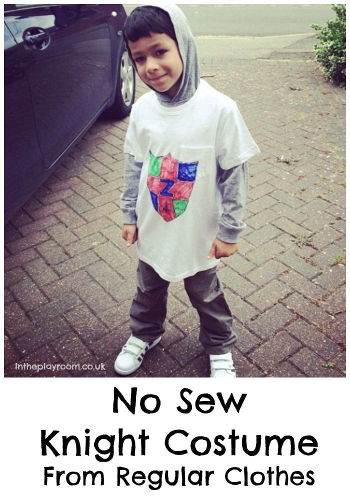 No sew easy knight costume made from regular clothes. Easy for Halloween, World Book Day, or medieval themed dress up days. Good idea for kids with sensory issues who can't handle scratchy or bulky costumes!