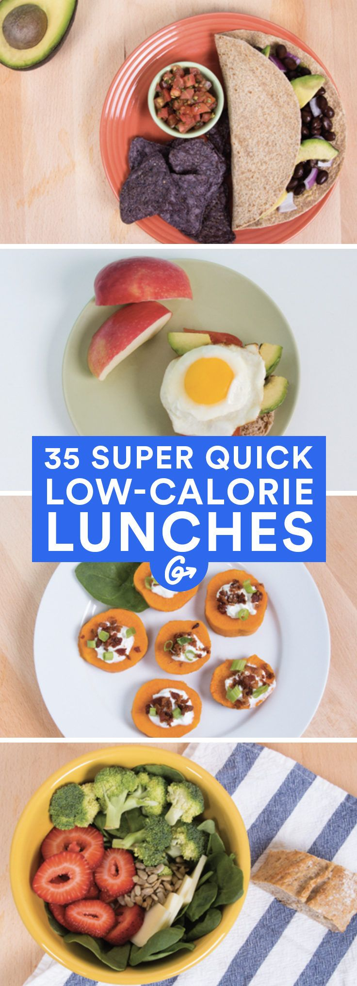 It's time to kick that brown-bag lunch up a notch! With a little planning, these lunches can be prepared in seven minutes or less.  #healthy #lowcalorie #lunches http://greatist.com/health/35-quick-and-healthy-low-calorie-lunches