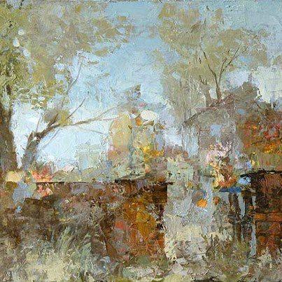 """Alexander Zavarin-I paesaggi del pittore russo sono abilmente """"scolpiti"""" nell'insieme, mentre le macchie di colore creano una suggestiva illusione tridimensionale. L'artista dipinge su una tavolozza e la pittura in una fase iniziale con una inconsapevole disposizione caotica dei pigmenti e dei colori. Il risultato: il caos si trasforma in luce. Morbido, fresco, luce diffusa della mattina, mentre la serata semi-trasparente avvolge con un velo gli alberi"""