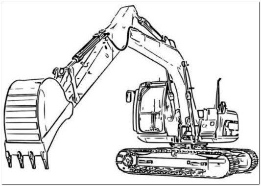 Excavator Coloring Page Hd
