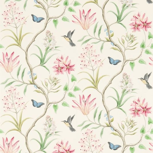 Clementine Wallpaper A Printed Wallpaper Featuring Charcoal And Yellow  Hummingbirds, Blue Butterflies And Flowing Exotic