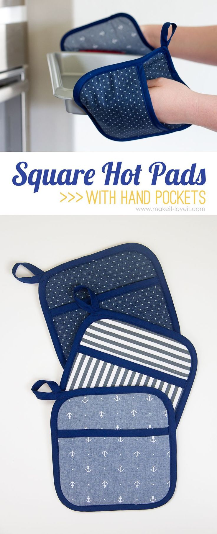 DIY Square Hot Pads...with Hand Pockets | via Make It and Love It #sleepingdiy