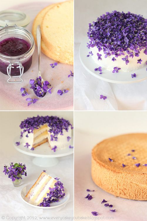 Layered sponge cake with violet jam and fresh edible violets on top